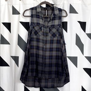 Free People Ombré Plaid High Low Tunic